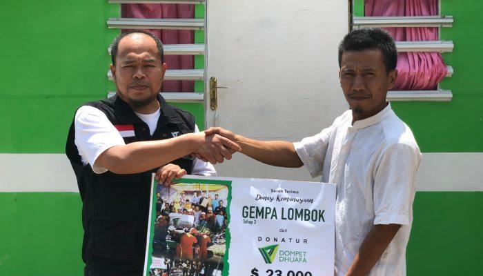 Laporan penyaluran Gempa Lombok