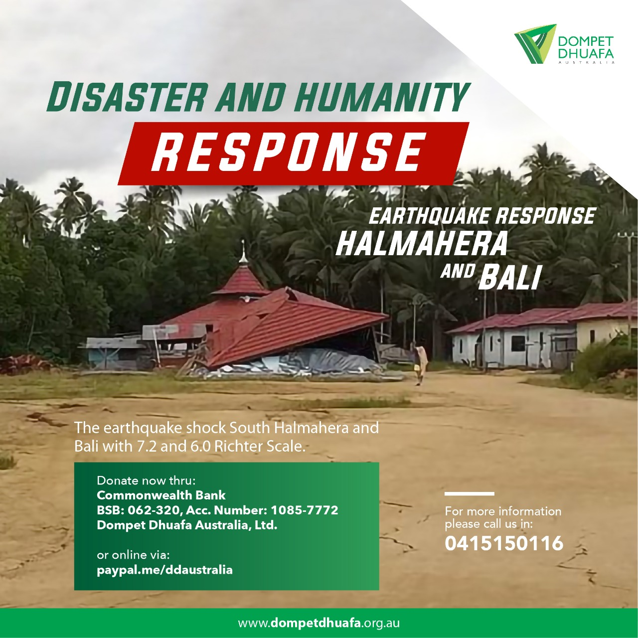 Earthquake Response Halmahera And Bali Dompet Dhuafa